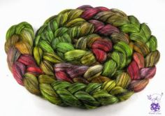 Tussah silk with Baby alpaca handpainted fiber roving combed top 100g (3.5oz) - Black Jewels -  Black opal 'Autumn forest' - Made to order by VioletLinx for $24.80