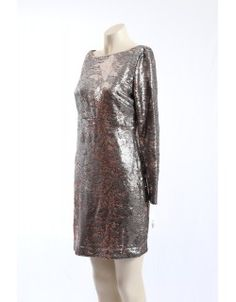 Silver and Gold Sequined Cocktail Dress. The dress is fully lined and has long sleeves. It is perfect for the cooler months. Sequin Cocktail Dress, Designer Dresses, Size 12, Fashion Dresses, Sequins, Long Sleeve, Sleeves, Silver, Sweaters