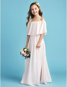 0fe359b0e03 A-Line Off Shoulder Floor Length Chiffon Junior Bridesmaid Dress with  Pleats by LAN TING BRIDE®