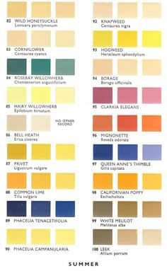 """Pollen color chart developed by Mrs. Dorothy Hodges in 1947 to illustrate that pollen color matches the color of its flower source. In Hodges published """"Pollen Loads of the Honey Bees"""", where the chart was reprinted."""