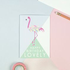 'Happy Birthday Lovely' Flamingo Card