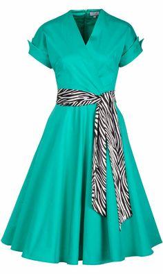 Aqua Green Zebra Safari Retro A-Line Dress