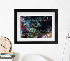 Cat picture, Black cat art, Abstract cat picture, crazy cat lady, pointillism print
