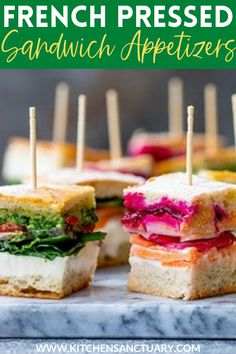 I love to make these french pressed sandwich bites for everyone during the holidays because there's a little something for everyone. They're great for using some leftovers too! #partyfood #appetizer #fingerfood #gameday #holidayrecipes #christmas #picnic #sandwiches #makeaheadappetizer #makeaheadpartyfood Appetizer Sandwiches, Sandwiches For Lunch, Appetizer Recipes, Sandwich Recipes, Make Ahead Appetizers, Appetizers For Party, Pressed Sandwich, Bite Size Food, Fun Easy Recipes