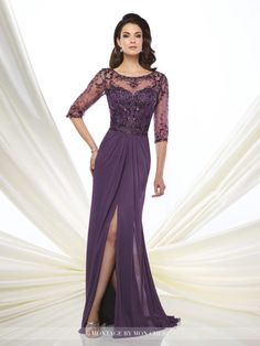 Montage by Mon Cheri - 216963 - Chiffon slim A-line gown with hand-beaded illusion three-quarter length sleeves and bateau neckline, sweetheart bodice with beaded natural waist, beaded illusion keyhole back, softly gathered skirt with center slit and sweep train.Sizes: 4 - 20Colors: Dark Purple, Dark Mink, Navy Blue