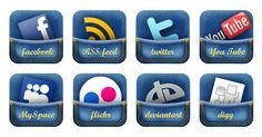 Jeans Social Media Icons Set