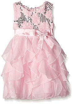 NWT Girls AMERICAN PRINCESS Sequin Soutache Ruffle Cascade Dress Ice Pink 2T 4T