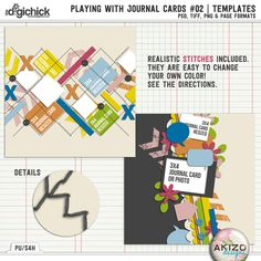 Playing With Journal Cards #02 | Templates by Akizo Designs. Now available at 30% off at The Digichick. Includes the PSD, PNG, TIFF and PAge File Formats
