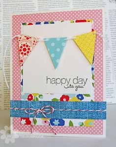Petite Pennants Builder Punch. Friendly Phrases stamp set. Card by Tessa Wise.