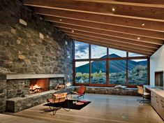 Relation to context & framing Finish of stone Ceiling heights  Sun Valley House, Rick Joy Architects