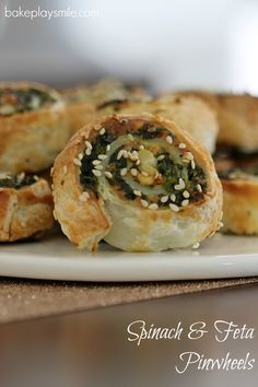 The easiest and crispiest puff pastry Spinach & Feta Pinwheels! These make the perfect party food or super simple lunchbox fillers. #spinach #feta #pinwheels #puffpastry #easy #scrolls #conventional #thermomix