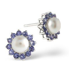 Tanzanite And Pearl 9K White Gold Earrings. #thediamondstoreuk #tanzanite #earrings #pearl #december