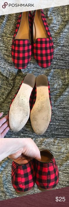 Sale!!! Buffalo check size 8 Flannel buffalo check flats from JCrew. Worn one time! J. Crew Shoes