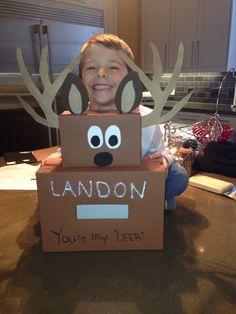 My little mans Deer Valentine box.... Boy mom!