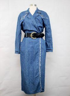 40.00$  Buy here - http://violm.justgood.pw/vig/item.php?t=wzsv9y516986 - Vtg 80s PG Collections Blue Jean Denim Shirt Belted Dress.