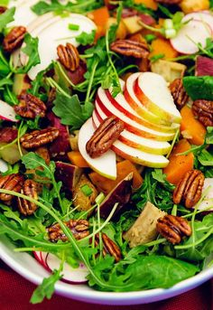 harvest salad, salad, oven roasted rosemary root vegetable, oven roasted rosemary root vegetable salad, whole food plant based, plant based, plant based salad, whole food plant based dressing, salad dressing, vegan, vegetarian, vegan salad, vegan salad dressing, vegetarian salad, vegetarian salad dressing, apple, pecan, sweet potatoes, butternut squash, no oil, oil free, refined sugar free, no refined sugar, healthy salad, healthy, wholesome, delicious salad, delicious, easy, fast, quick, 30 min Whole Food Recipes, Vegan Recipes, Japanese Sweet Potato, Harvest Salad, Mediterranean Quinoa Salad, Roasted Root Vegetables, Vegetable Salad, Base Foods, Plant Based Recipes