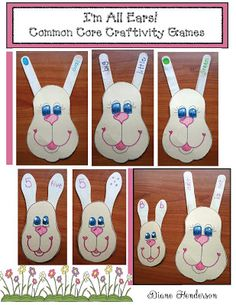 Common Core Bunny Craft Games   This bunny craftivity is a quick easy and super-fun center assessment or game. There are 4 sizes of bunny patterns to accommodate the various sizes and kinds of craft sticks. Print the templates on ivory construction paper; add a bit of color laminate and trim. Program the various sized craft sticks with whatever you'd like to reinforce then keep each set in their own Ziploc Baggie. The beauty of this bunny pattern is that you only have to make a few yet…