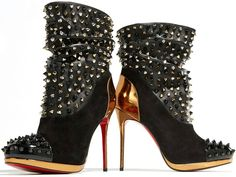 Look - Christian Louboutin Spike Wars Red Sole Ankle Booties Black Christian Louboutin, Red Louboutin, Black Booties, Ankle Booties, Bootie Boots, Short Black Boots, Black High Heels, Sensible Shoes, Red Sole