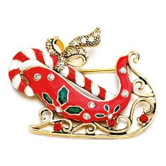 Pugster Christmas Inspired Red Sleigh Bow Swarovski Crystal Brooches And Pins For Holiday Gifts Pugster. $16.99. One free elegant cushioned Gift box available with every order from Pugster.; Money-back Satisfaction Guarantee; Metal Finish: gold plated; Occasion: anniversary, bridal, cocktail party, wedding; Can be pinned on your gown or fastened in your hair with bobby pins.