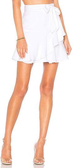 c10c6b0169 Patricia Ruffle Wrap Skirt in White at REVOLVE.