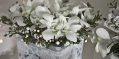 Wedding Table centerpieces..White orchid with romantic lace..  #wedding #Fleria www.fleria.gr/category/events/