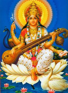 The literal meaning of the name Sarasvati is the one who gives the essential knowledge (Sara) of our own Self (Sva). Sarasvati is also considered the Goddess of learning,intelligence, crafts, arts, and skills. She holds in her hands a vina instrument (harmony with the universe), an akshamala (prayer beads, all spiritual sciences) and a pustaka (book: secular knowledge).