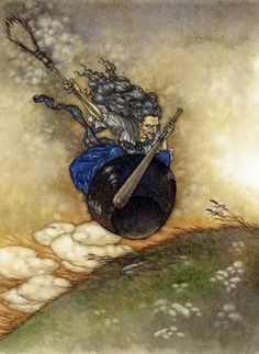 At full speed did she fly in her iron mortar; Baba Yaga for The Death of Koschei the Deathless.Baba Yaga is a witch who features prominently in Slavic folklore - The Red Fairy Book by Andrew Lang, 2008