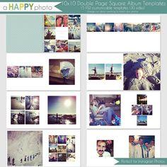 10 x 10 Instagram Square Album Vorlage Doppel 15 von ahappyphoto