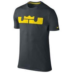 Nike Lebron Logo T-Shirt - Men's - Basketball - Clothing - Anthracite/Tour Yellow
