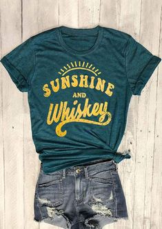 Sunshine And Whiskey Tee, Sunshine And Whiskey Shirt, Graphic Tee, Graphic Shirt, Home T Shirts, Vinyl Shirts, Look Vintage, Vintage Tees, Sunshine And Whiskey, Sunshine Sunshine, Style Hipster, Boho Style, Aesthetic T Shirts