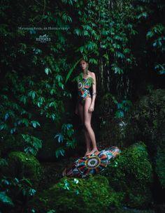 Metamorphosis, an Hermès story. Bathing suit and cotton pareo. Hermès 2014 spring-summer campaign. #hermes #fashion
