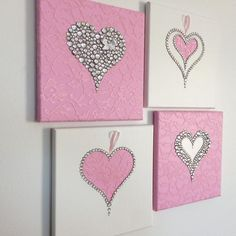 me ~ Hearts Wall Art. Set of four pink and white girls room handmade canvasses White Girls Rooms, Pink Bedroom For Girls, Hanging Wall Art, Diy Wall Art, Diy Art, Valentines Day Decorations, Valentines Diy, Crafts To Make, Diy Crafts