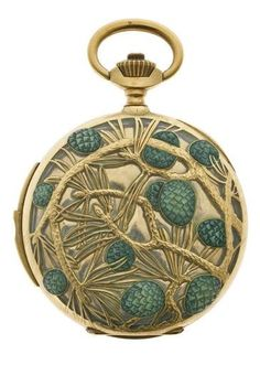 'Pine Cones' pocket watch, by René Lalique, circa 1900, Paris. Composed of gold and enamel. #ArtNouveau #Lalique #watch