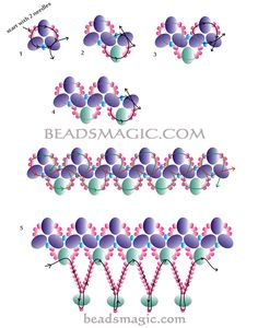 Free pattern for pretty beaded  necklace Dresden with crystal rondelles beads - 2