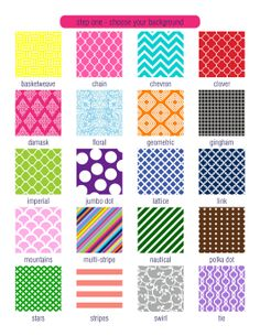 I like basketweave, chain, clover, imperial, lattice, link, mountains, tie, swirl, and stripe.