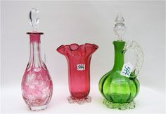 TWO AMERICAN ART GLASS VESSELS & BOHEMIAN DECANTER