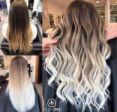 50 brilliant balayage hair color highlight for 2019 09 ~ tel … – Hair Beauty White Ombre Hair, Ombre Hair Color, Hair Color Balayage, Blonde Balayage, Dyed Hair Ombre, Hair Dye, Hair Colors, Blonde Hair Looks, Brown Blonde Hair