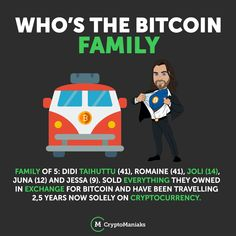 Have you heard of the family who sold everything they own for Bitcoin? Family of Didi Taihuttu Romaine Joli Juna and Jessa sold everything they owned in exchange for bitcoin and have been travelling years now solely on cryptocurrency. Family Of 5, Blockchain, Cryptocurrency, Euro, Education, 5 Years, Travelling, Posts, Earn Money