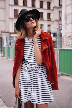 POLIENNE by Paulien Riemis | wearing a MAJE suede bikerjacket, ZARA stripe dress, YSL bag in Paris Camo Dress, Dress Red, Ysl Bag, Nautical Stripes, Red Stripes, Style Guides, Your Style, Style Me, Style Diary
