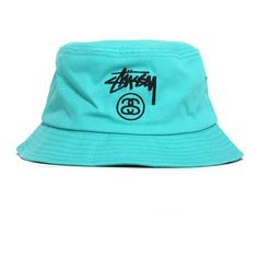 Stussy Stock Lock Spring '15 Bucket Hat Turquoise ($32) ❤ liked on Polyvore featuring accessories, hats, fishing hats, stussy hat, fisherman hat, bucket hats and stussy