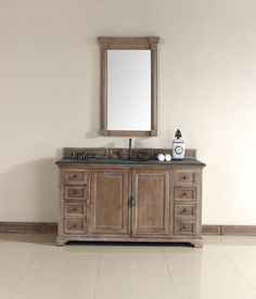"James Martin 238-105-5311-BLK Providence 60"" Driftwood Single Vanity with Absolute Black Rustic Stone Top"