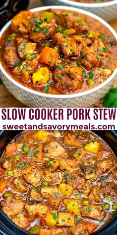 Slow Cooker Pork Stew has tender chunks of meat and complementing vegetables in a flavorful broth! And it is so easy to prepare using the crockpot! Stew Meat Recipes, Slow Cooker Recipes, Cooking Recipes, Slow Cooking, Crockpot Pork Recipes, Easy Pork Recipes, Slow Cooker Dinners, Pork Casserole Recipes, Crockpot Meat