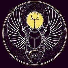 Principles of Kemet: Scarab Beetle, Eye Ankh and Ma'at . Egyptian Symbols, Ancient Symbols, Egyptian Art, Ancient Egypt, Egyptian Scarab, Viking Symbols, Viking Runes, Aleister Crowley, Magic Symbols