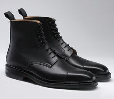 Northcote, a higher leg lace-up derby boot with a straight toe cap. Made from the finest waxed calf leather and Dainite rubber soles. As featured in the James Bond film SPECTRE. Sock Shoes, Men's Shoes, Shoe Boots, Dress Shoes, Northampton Shoes, Office Boots, James Bond Style, Ugg Boots Sale, Crockett And Jones