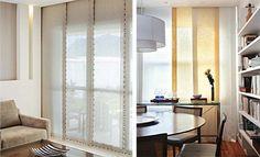 Painel : Pode ser usado desde os tecidos mais encorpados até os mais leves, além de lona ou tela. A porta da varanda coberta por painéis de linho que se transpassam 10cm. Para um ar mais artesanal, o contorno de cada painel recebeu aplicação de canutilhos de madeira. O trilho suíço ficou escondido no gesso. /  Na segunda foto, foram usados painéis em gaze de linho branco e amarelo, que usados intercalados trazem um pouco de cor e graça à sala de jantar. Projeto de Miguel Pinto Guimarães.