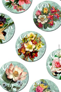 Digital Collage Sheet  Flowers on Vintage от Templates4Sellers