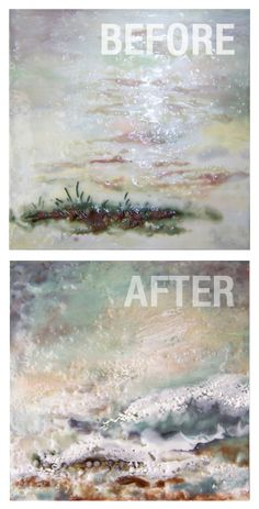 Dancing Waters Encaustic Painting : Before_After by Victoria Primicias #encaustic #painting http://arte-cera.com/why-encaustic-painting-is-like-arithmetic