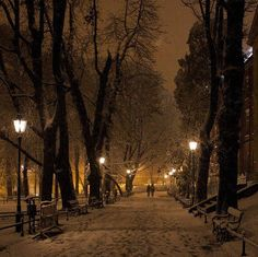 Snowy Night, Krakow, Poland