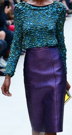 Burberry Prorsum Spring 2013... I like the pieces separately, but together it seems like too much texture... I don't know- it's just off.
