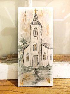 White Church Painting Design C Farmhouse Paintings, Farmhouse Artwork, Outdoor Christmas Tree Decorations, Christmas Paintings, Christmas Art, Christmas 2019, Pallet Art, Painting On Wood, Wood Paintings